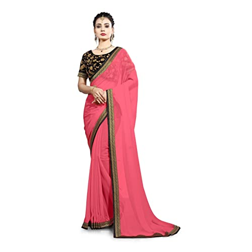 5e32c989f1 Saree Center Georgette Saree with Blouse Piece (Map-Akshra_Pink_One Size)