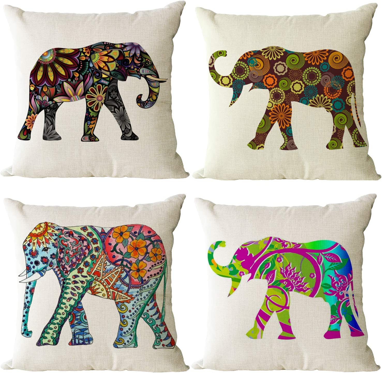 Ranking TOP8 YeeJu Set of 4 Elephant Decorative Pillow Co Throw Square Covers Latest item