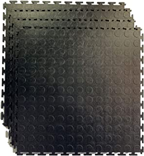 HYSA MAT Fitness Puzzle Exercise Mat, Coin Interlocking Tiles PVC, for Yoga Garage Warehouse Surface Protection Indoor Outdoor,19.7X 19.7 inch,4 Pack/Set