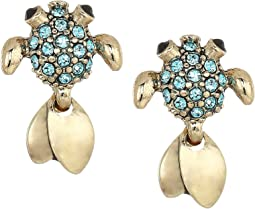 Betsey Johnson - Gold and Blue Stone Fish Stud Earrings