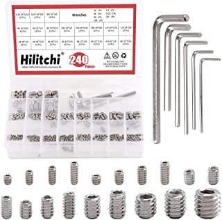 Hilitchi 240Pcs 19Sizes SAE Stainless Hex Allen Head Socket Set Screws Grub Screw Bolts Assortment Kit Internal Hex Drive Cup-Point Screws with 7 Hex Wrenches