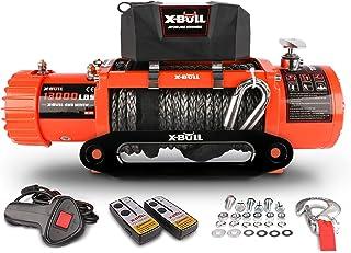 X-BULL 12V Synthetic Rope Winch-13000 lb. Load Capacity