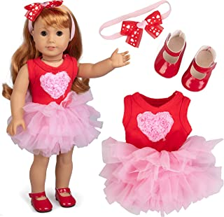 Pink Heart Party Doll Outfit (3 Piece Set) - Clothes for American Girl & 18