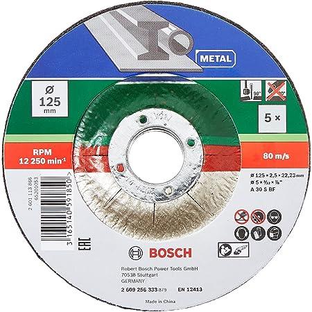 Bosch 5Disque à tronçonner (pour le métal, convient aux meuleuses angulaires portatives dont le diamètre des disques à tronçonner est de 125mm, accessoires meuleuse angulaire)