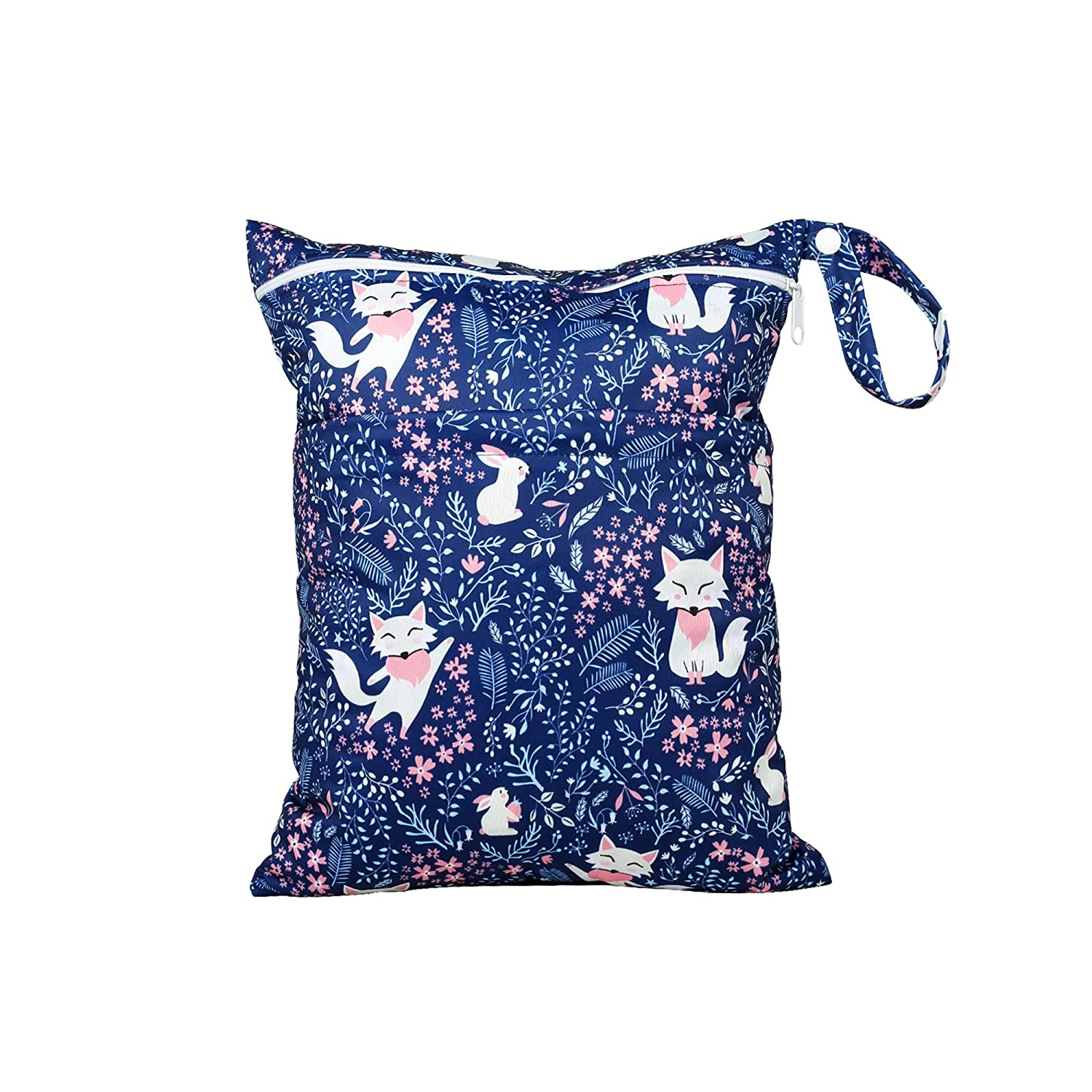 Wet Bag for Cloth Diapers Waterproof Reusable Bags with Two Zippered Pockets Cat Wet Dry Bag Travel Beach Pool Yoga Gym Bag for Pump Swimsuits Wet Clothes 1 pc