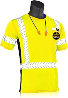 KwikSafety (Charlotte, NC) RENAISSANCE MAN Short Sleeve (w/POCKET) Class 2 ANSI High Visibility Safety Shirt Fishbone Reflective Tape Construction Security Hi Vis Clothing Men | Yellow Large