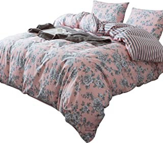 ANNA.Z HOME 3-Piece Cotton Duvet Cover Set. 100% Cotton Percale. Real Reversible Design. Pre-Washed Printed Fabrics. Ultra Soft and Easy Care. Simple and New Vintage Style. (Pink, Queen Set)