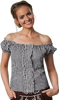 dressforfun dressforfun 900621 Trachtenbluse mit Carmen Ausschnitt und Knopfleiste, Kurzarm, schwarz weiß kariert - Diverse Größen - XL | Nr. 303123