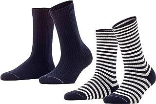 Esprit Socken Sporty Stripe 2 Pack Baumwolle Damen schwarz weiß viele weitere Farben verstärkte Damensocken mit Muster atmungsaktiv gestreift uni gerippt bunt im Multipack 2 Paar