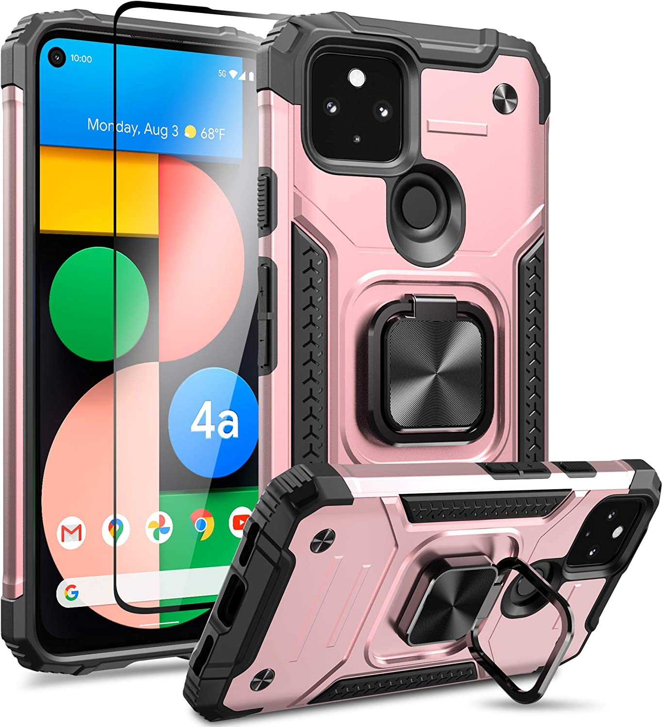MMHUO for Google Pixel 4a 5G Case,(Not for Pixel 4a) Armor Protective Case for Pixel 4a 5G Case with Screen Protector, Magnetic Case with Ring Kickstand Phone Case for Pixel 4a 5G 6.2