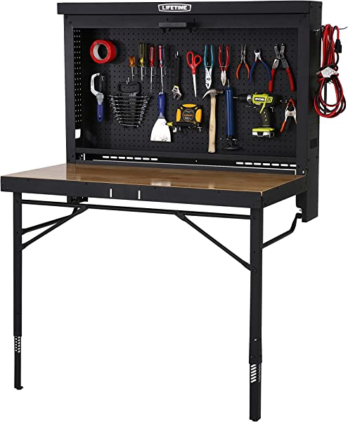 Lifetime Products Wall Mounted Work Table 4 Wood Varnish