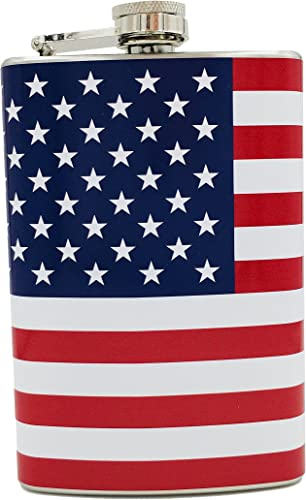 popular American high quality Flag Classic 8 Ounce Stainless Steel Flask wholesale - by Alternative Imagination outlet online sale
