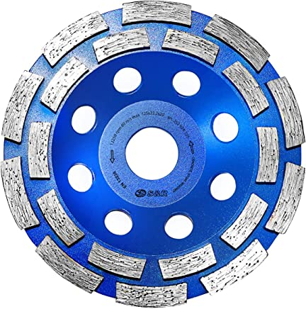 S&R Diamantschleiftopf 125 x 22,23 mm für Beton, Granit, Naturstein, Stein, Mauerwerk, 2-reihig. Profi-Qualität für Winkelschleifer
