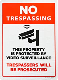 Video Surveillance Sign | No Trespassing | Outdoor Reflective Aluminum Sign for Business or Home | Security Camera Sign | Warning Sign for Property