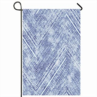 Ahawoso Outdoor Garden Flag 28x40 Inches Blue Dye Abstract Distressed Chevron Strokes Denim Rough Tie Pattern Old Indigo Design Jeans Graphic Seasonal Home Decor Welcome House Yard Banner Sign Flags