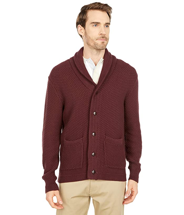 Men's Vintage Sweaters, Retro Jumpers 1920s to 1980s J.Crew 2-10s Cotton Checker Stitch Cardigan Vintage Merlot Mens Clothing $102.99 AT vintagedancer.com