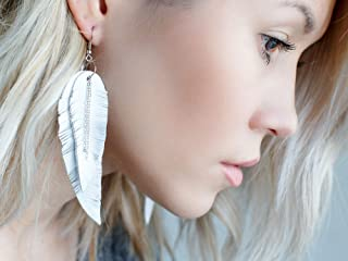 White Feather Leather Earrings, layered earrings, tribal Earrings, Boho earrings, dangle earrings, long earrings