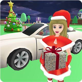 Christmas Santa Girl Car Drive