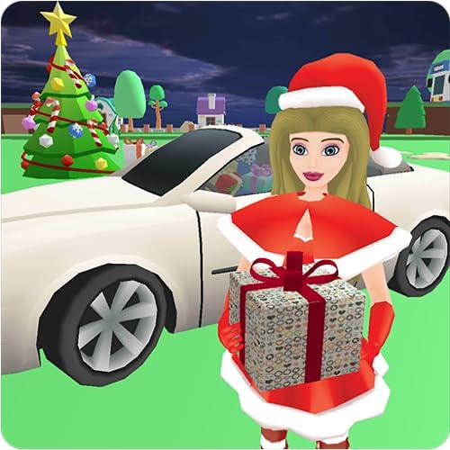 Weihnachten Santa Girl Car Drive