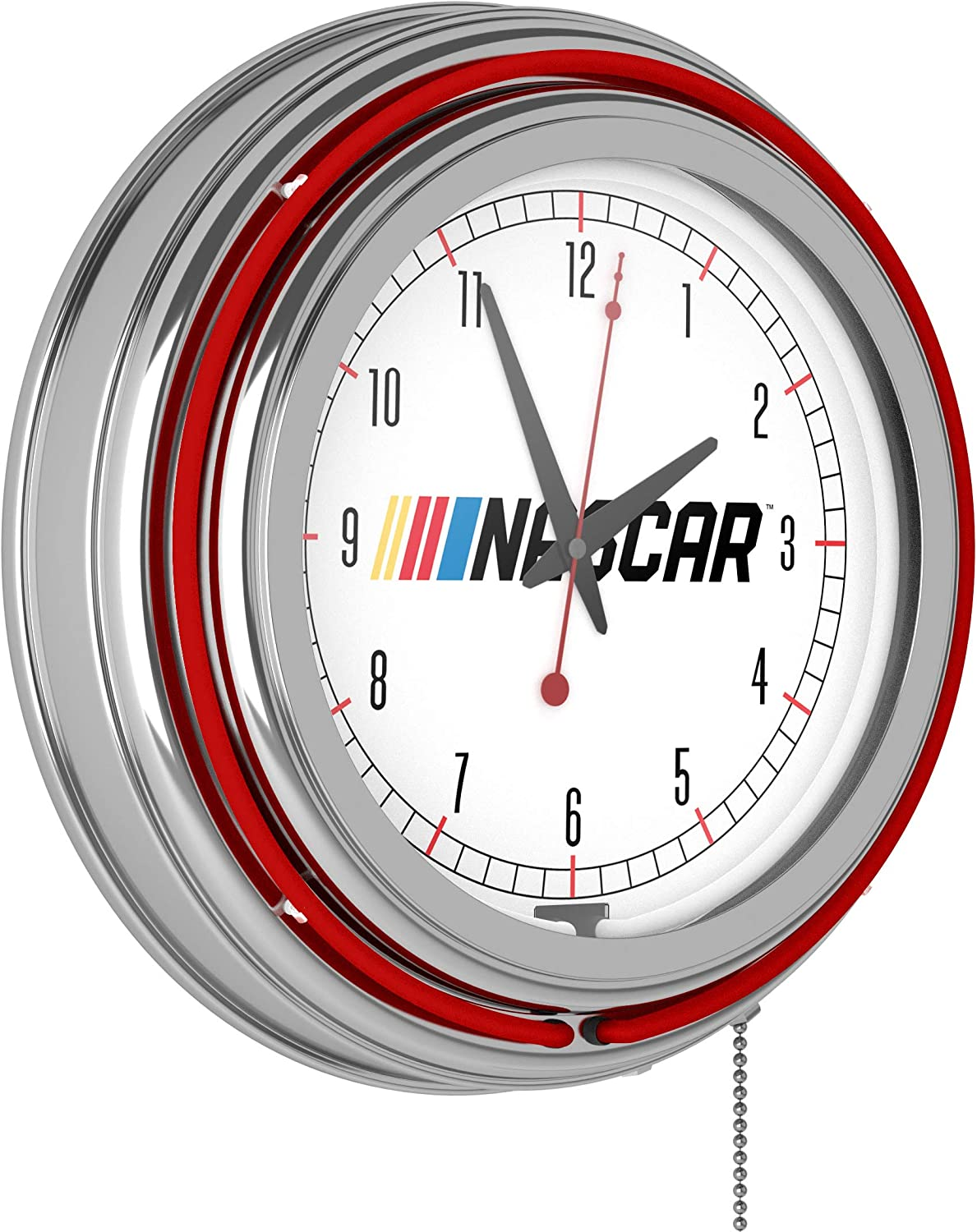 Max 57% OFF Be super welcome NASCAR Chrome Double Neon Rung Clock