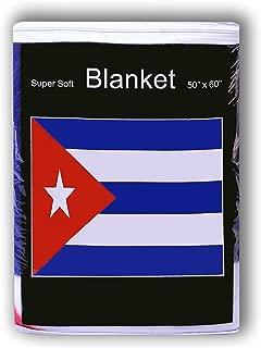 Super Soft Cuban Flag Fleece Blanket 5 ft x 4.2 ft. Throw Cover Bedding República de Cuba Cobija