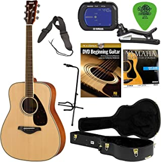 Yamaha FG820 Mahogany Back and Sides Acoustic Guitar Solid Top with Hard Shell Case, Tuner