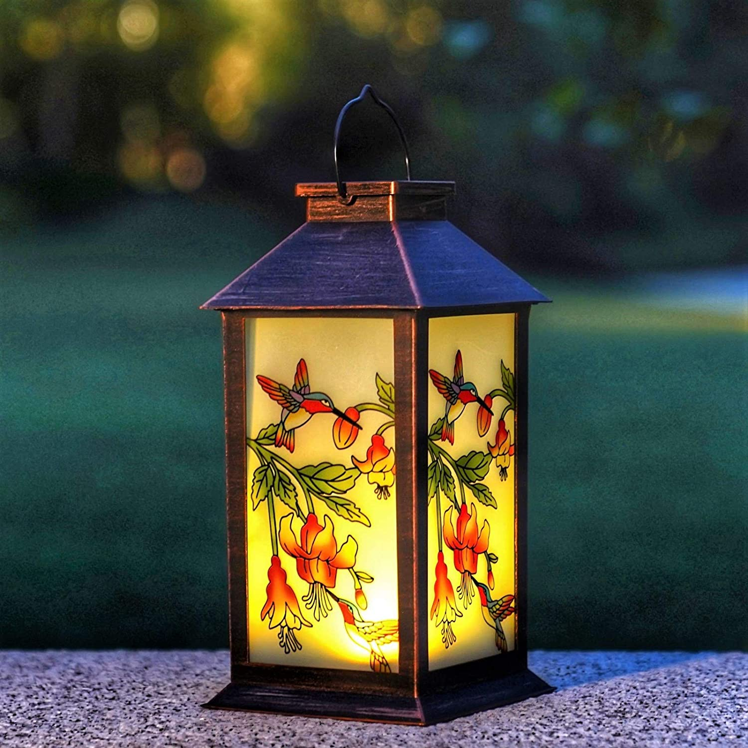 Solar Lanterns Outdoor Hanging Solar Lights Decorative for Garden Patio Porch and Tabletop Decorations with Hummingbird Pattern.