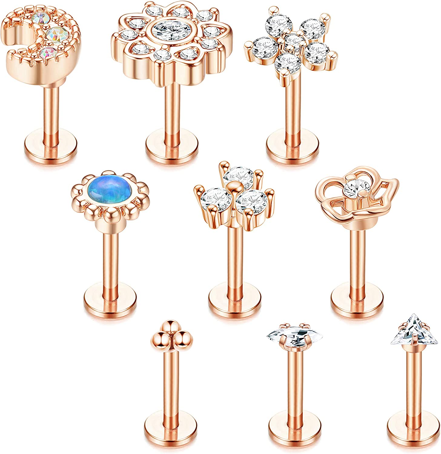 Drperfect 9 Pcs 16G Stainless Steel Tragus Earrings for Women Men Cartilage Helix Piercing Jewelry Lip Rings Nose Labret Studs