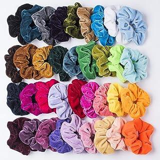 36 Pcs Premium Velvet Hair Scrunchies Hair Bands Scrunchy Hair Ties Ropes Ponytail holder for Women or Girls Hair Accessories (36 Pcs Korean VelvetHair Scrunchies)