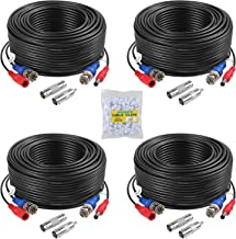 ANNKE 4 Pack 30M/100ft All-in-One Video Power Cables, BNC Extension Security Wire Cord for CCTV Surveillance DVR System Installation, Free BNC RCA Connector and 100pcs Cable Clips Included (Black)