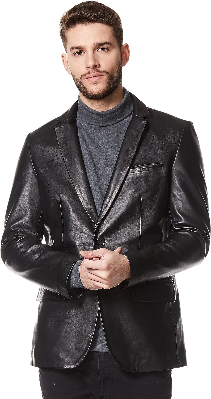 Classic Men's Real Leather Jacket Blazer Black Tailored Soft Napa Coat Z-120