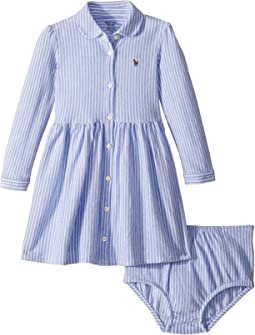 Striped Mesh Oxford Dress (Infant)