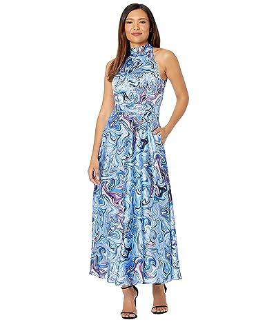 Tahari by ASL Mock Neck Tie Back Maxi Print Dress (Blue Marble) Women