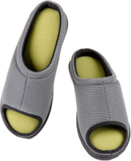 ZIZOR Men's Two-Tone Open Toe Slippers with Comfy Memory Foam, Slip On Breathable House Shoes with Indoor Outdoor Anti-Skid Rubber Sole