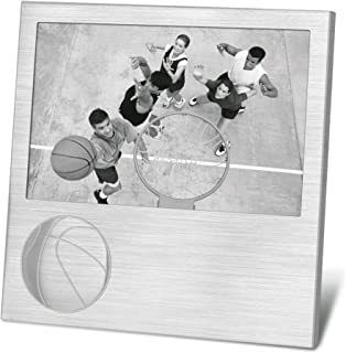 Marketing Innovations Intl Embossed Basketball 4x6 Photo/Picture Frame Black Felt Backing and Glass Front Gift Box Packaging