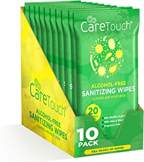 Care Touch Alcohol-Free Hand Sanitizing Wipes (10 Pouches) | 200 Antibacterial and Moisturizing Sanitizing Wipes with Vitamin E + Aloe Vera | for Babies and Adults
