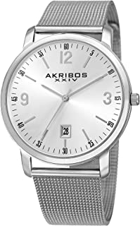 Akribos XXIV AK858 Omni Mens Casual Watch - Sunburst Effect Dial - Quartz Movement - Stainless Steel Mesh Strap