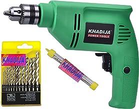 Khadija 10mm 400W Reverse Forward Rotation Drill Machine with 1 Masonry Bit and 13 Piece HSS Drill Set