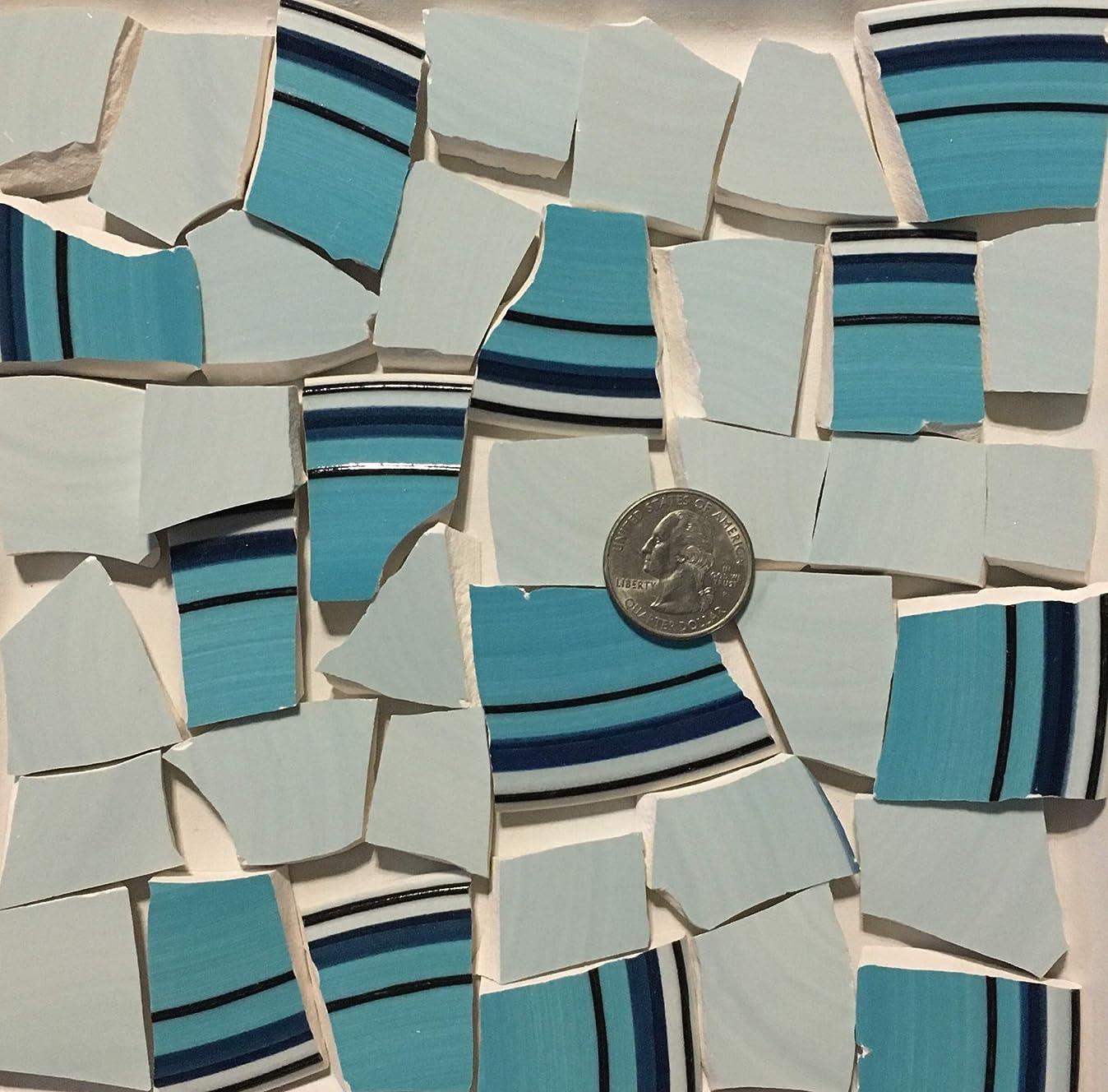 Mosaic Art & Crafts Supply ~ Turquoise Blue & Navy Rim Tiles w/Pale Blue (B744) y7943110354