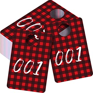100 Pieces Live Plastic Number Tags, Christmas Live Number Tags Red and Black Plaid Pattern Number Tags 001-100 Number Set...