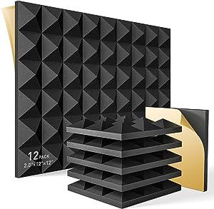 HEMRLY 12 Pack Self-Adhesive Sound Proof Foam Panels,2
