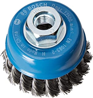 Bosch 2608622099 Cup Brush Knotted Wire, 0.35mm Steel, 65mm x M14, Silver