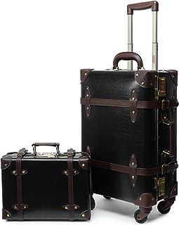 "urecity vintage luggage set of 2 piece, alligator (26""+12"", Black)"