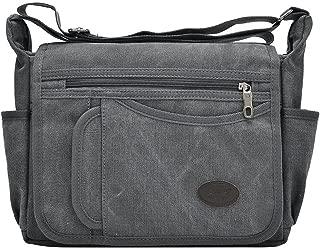 Toupons Canvas Messenger Bags Multi Pockets Shoulder Cross Body