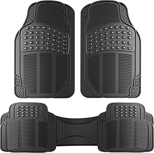 2021 OxGord Ridged high quality All-Weather Rubber Floor-Mats - Waterproof Automotive Protector for Spills, Dog, Car, SUV, Minivan, Truck - 2021 3 Piece Set, Black outlet sale