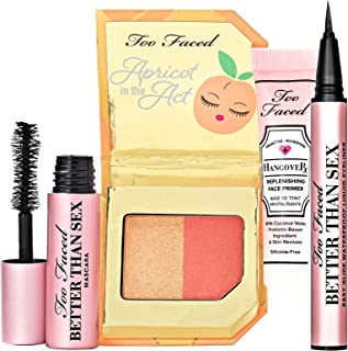 Too Faced Juicy 4 Piece Travel Set Fruit Cocktail Blush, Liquid Eyeliner, Mascara, Primer
