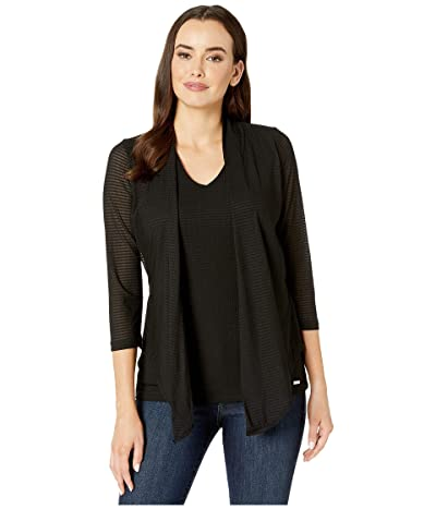 Calvin Klein Textured Faux Cardigan and Shell (Black) Women