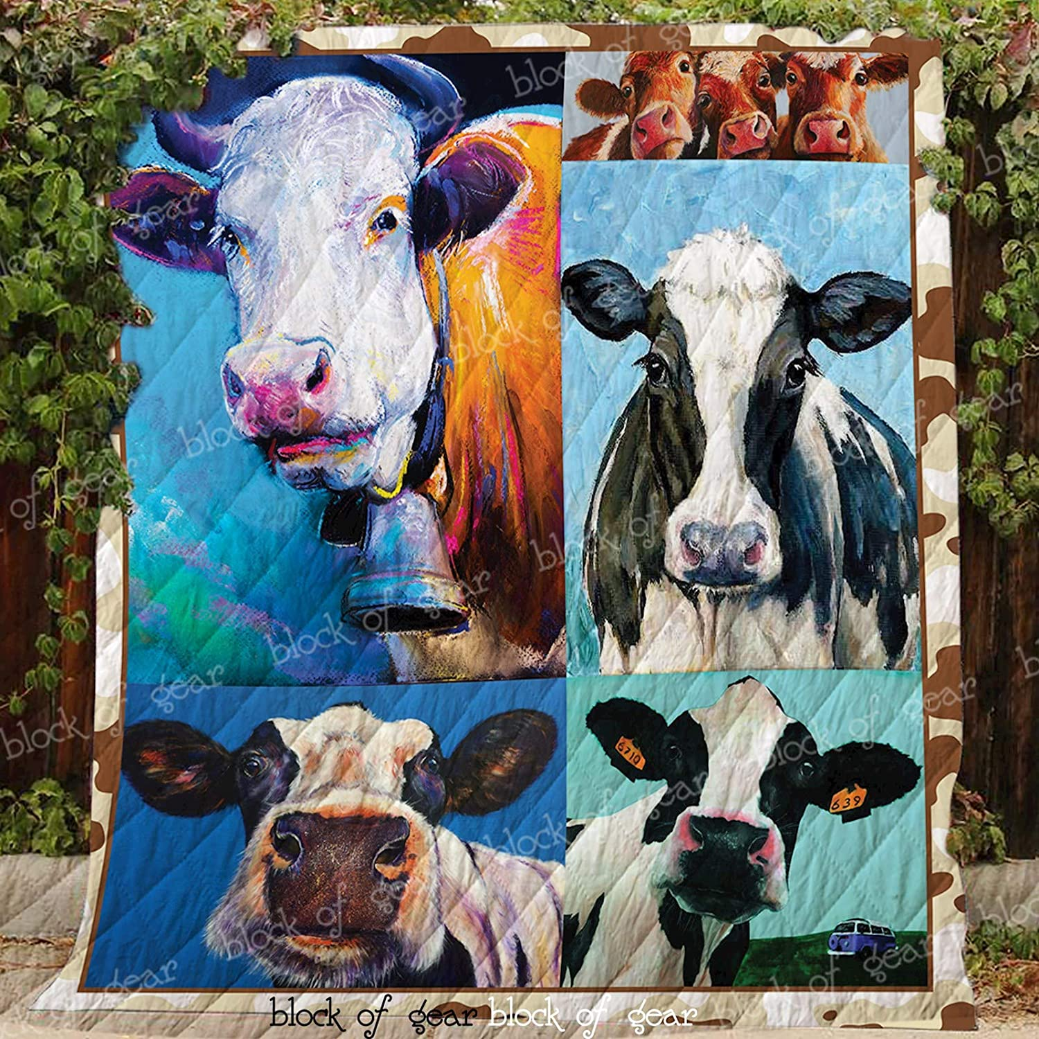 Happy Cow On Farm Quilt D283, Queen All-Season Quilts Comforters with Reversible Cotton King Queen Twin Size - Best Decorative Quilts-Unique Quilted for Gifts