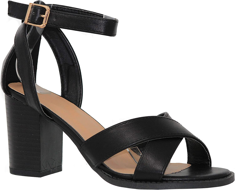 MVE shoes Women's Heeled Sandals - Cross Strap Block Heel Comfort Sandal - Open Toe Summer shoes