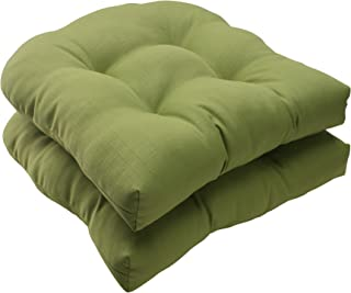 Pillow Perfect Indoor/Outdoor Forsyth Green Wicker Seat Cushion, Set of 2, 19